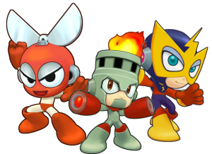 Cut man, Fire Man, and Elec Man, three of six Robot Masters, as depicted in *Powered Up* for PSP